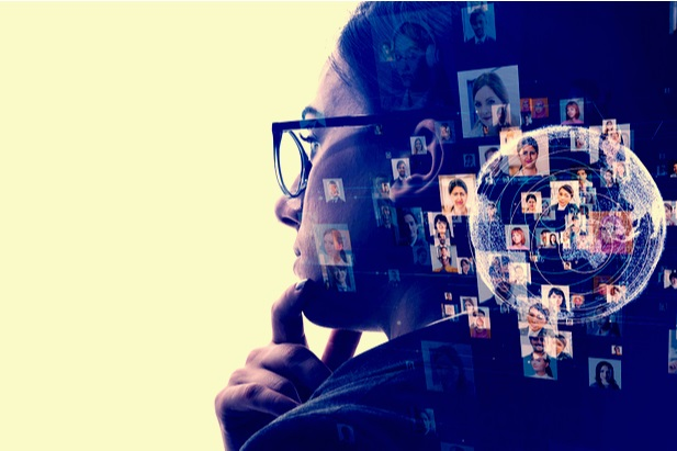 woman wearing glasses and thinking collaged with head shots of people