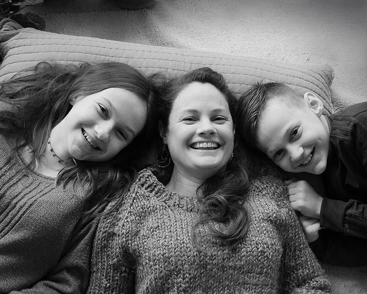 Kate Dawes, center, and her children have had more time to spend together during the pandemic. Photo courtesy of Kate Dawes.