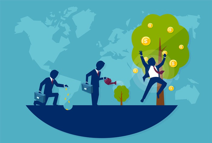 A person cultivating money that starts as seeds, gets watered, then grows into a tree with coins on it.