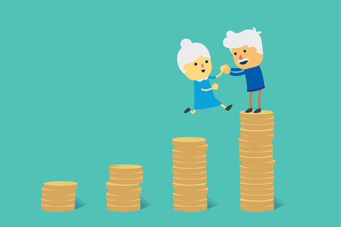 Older people standing on coins.